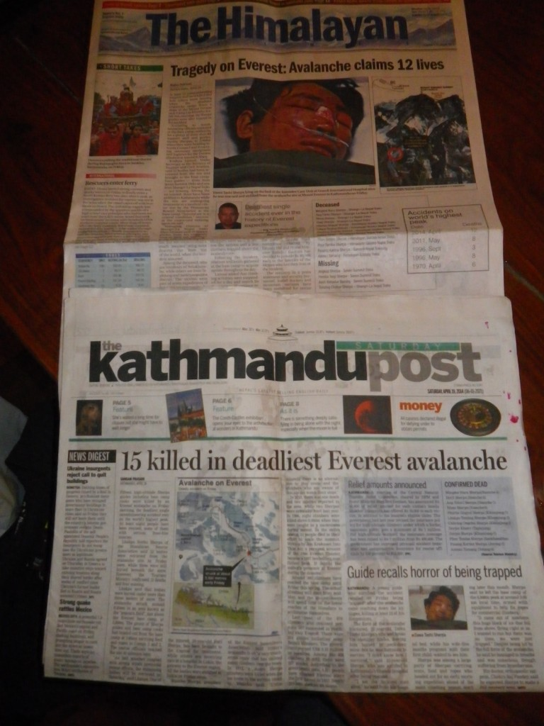 The Himalayan Times and Kathmandu Post newspapers for April 19, 2014. The discrepancy in the number of the dead is due to The Himalayan Times counting only the bodies that had been retrieved to date, while The Kathmandu Post included those still buried in the snow, not yet dug out.